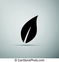 Leaf icon on grey background. Adobe illustrator