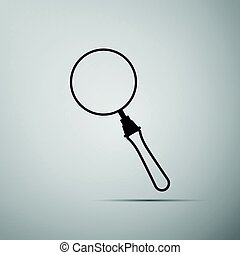 Magnifying glass on grey background. Adobe illustrator