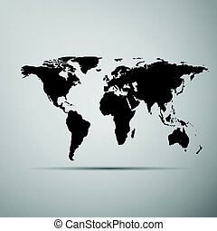 World map icon on grey background. Adobe illustrator - World...
