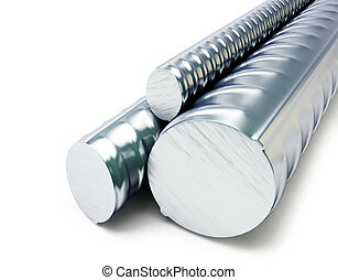 Rolled metal products  on a white background 3D illustration