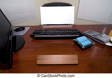 Desk and Blank Sign - An Office Desk with a Blank Sign Board...