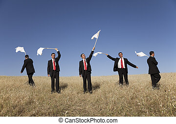 Group raise the white flag - Group of businessman in the...