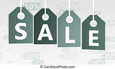 Gray Hanging Price Tags with Sale labels. - Animation of...