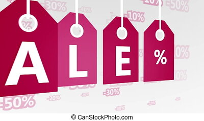 """Red hanging sales tags """