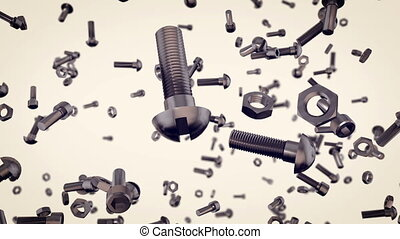 """Many abstract scattered screws background"" - ""Many abstract..."