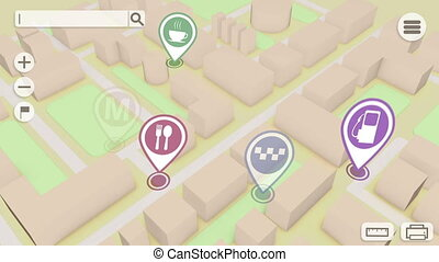 """Tracking gps path map. 3d gps map navigation."" - ""Concept..."