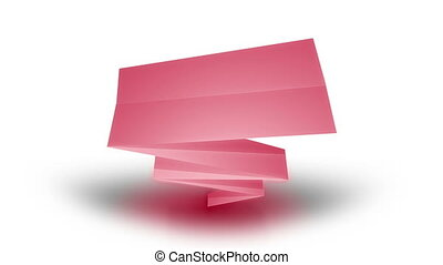 Paper ribbons on a white background. - Animation of color...