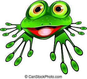 Cheerful Green Frog - Illustration Cheerful Green Frog...