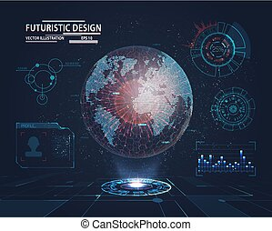 Futuristic Interface with planet hologram - Planet hologram...