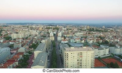 View of the new Porto at sunset time, Portugal. Aerial. 2016...