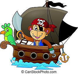 Boat with pirate monkey