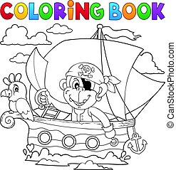 Coloring book boat with pirate monkey - eps10 vector...