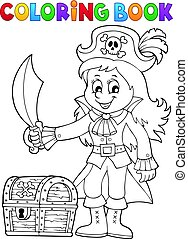 Coloring book pirate girl theme 1