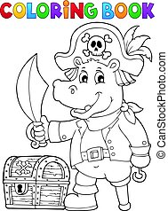 Coloring book pirate hippo image 1 - Coloring book pirate...