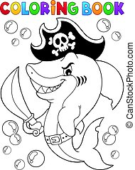 Coloring book pirate shark topic 1 - eps10 vector...