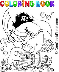 Coloring book pirate shark with treasure - eps10 vector...
