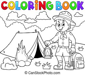 Coloring book scout boy illustration.