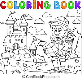 Coloring book scout girl theme 3 - Coloring book scout girl...