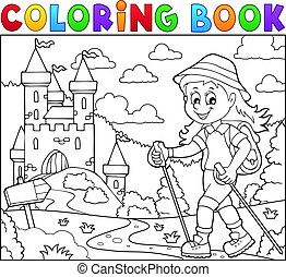 Coloring book woman hiker theme illustration.