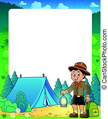 Summer frame with scout boy theme 2