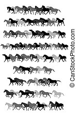Set of vector horses silhouettes in black and grey - Set of...