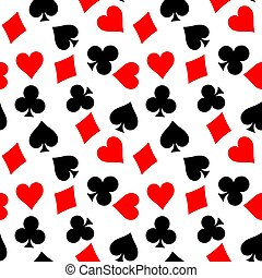 Seamless pattern background of poker suits - hearts, clubs, spades and diamonds - on white background. Casino gambling theme vector illustration
