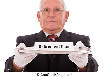 Insurance plan - Senior businessman offering you the best...