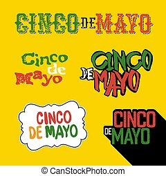 Cinco de Mayo badges. Holiday typography design set. Vector Cinco de Mayo logotypes collection.