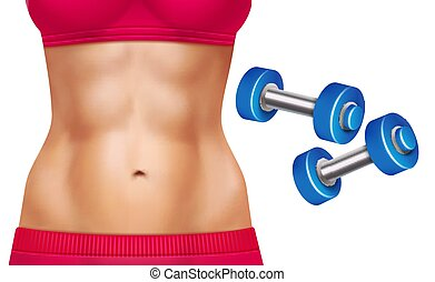 Abs Woman Realistic Set - Beautiful woman abs and two...