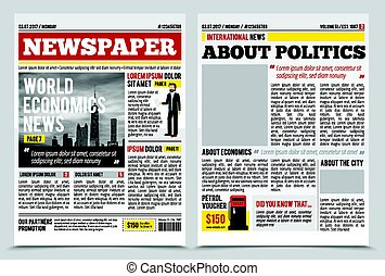 News Journal Spread Template - Daily newspaper journal...