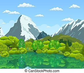 Summer landscape with green forest