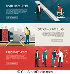 Disabled People Banners Set - Disabled people horizontal...
