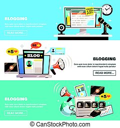 Blogging Horizontal Banners Set - Blogger banners collection...
