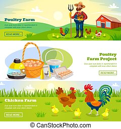 Farming Horizontal Banners Set - Poultry farm banners with...