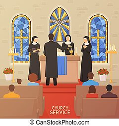 Church Service Religious Ceremony Flat Banner - Church...