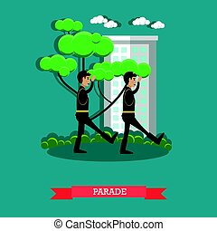Army parade concept vector illustration in flat style -...