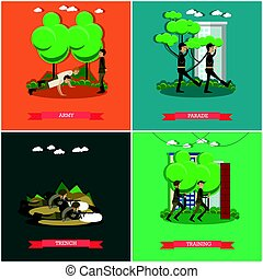 Vector set of military square posters in flat style - Vector...