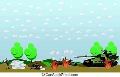 Battlefield concept vector illustration in flat style -...