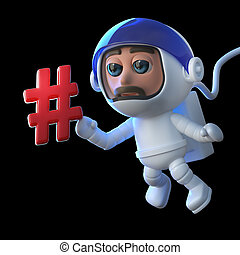 3d Cartoon astronaut character floats in space with a hash...