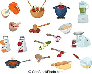 Cooking Process Set - Cooking process set with kitchen stuff...