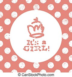 It's a girl lettering. Baby shower party design element....