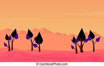 Silhouette of tree on desert scenery