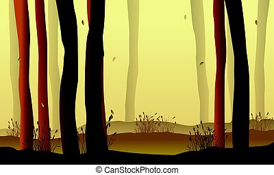 Landscape forest with tree silhouette
