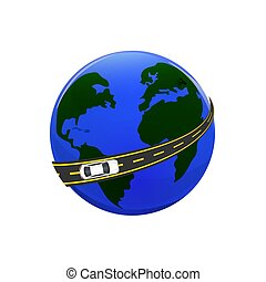 Traveling by car. The globe, the road, the car. illustration