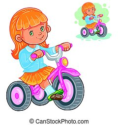 Vector illustration of small girl ride tricycle. Print for...