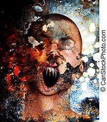 Pain And Torment - Concept image showing a screaming man in...