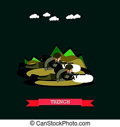 Trench concept vector illustration in flat style - Vector...