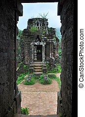 My Son Hindu temple ruins in Vietnam. Cham temple remains in...