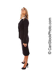 Looking up - Full businesswoman looking up (isolated on...