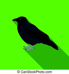 Crow icon in flate style isolated on white background. Bird...